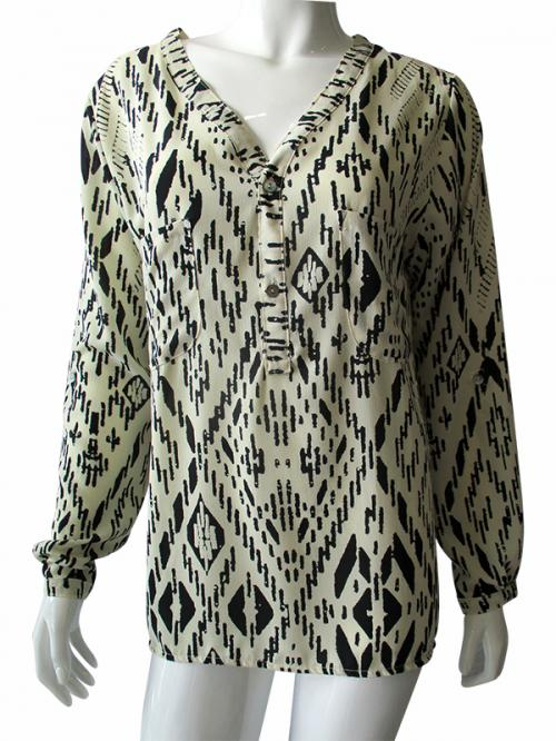 Black & Cream Printed Top - (TARA-012)