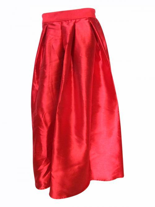 Red Nylon Long Skirt - (TARA-024)
