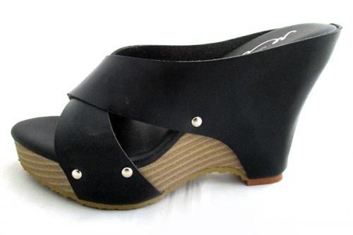 Black Cross Heel Shoes - (TARA-029)