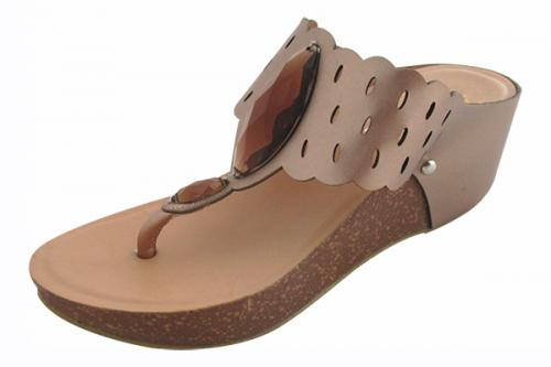 Brown Wedge Heel Shoes - (TARA-031)
