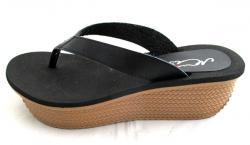 Black Wedge Heel Shoes - (TARA-032)