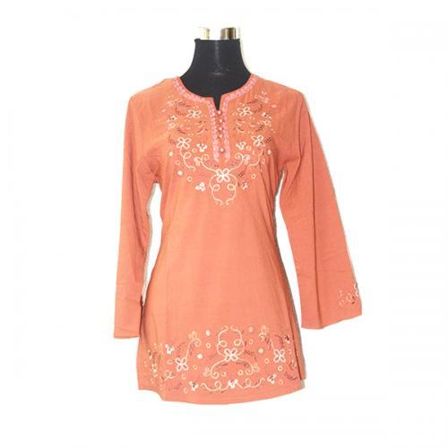 Light Orange Color Short Kurti With Full Sleeves - (SARA-024)