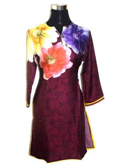 Maroon Floral Kurti With Full Sleeves - (SARA-003)
