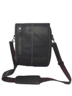 Black Color Leather Messenger Bag MBG002