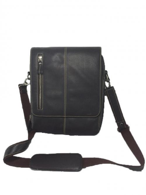 Black Color Leather Messenger Bag MBG002
