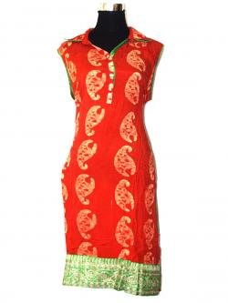 Orange & Green Color Printed Long Kurti - (SARA-016)