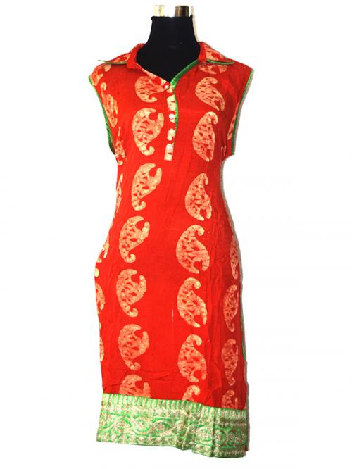 Orange & Green Color Printed Long Kurti - (SARA-016)