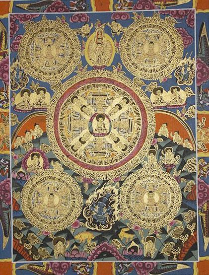 Pancha Buddha Mandala (25cmx33cm)