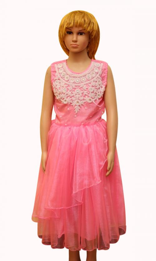 Pearly White Bead Worked Pink Dress - (JU-064)