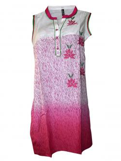 Pink In White Printed Long Kurti - (SARA-004)
