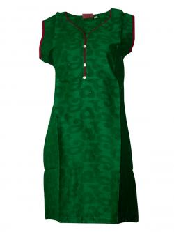 Plain Green Sleeveless Kurti With Bottons - (SARA-009)
