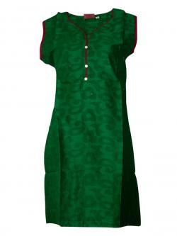 Plain Green Sleeveless Kurti With Bottons - (SARA-009)