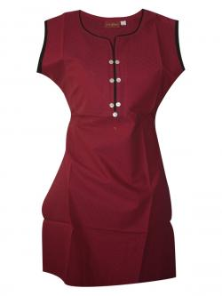 Plain Maroon Sleeveless Kurti With Bottons - (SARA-007)