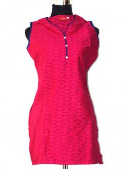Plain Pink Sleeveless Kurti With Bottons - (SARA-008)