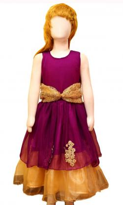 Purple & Golden Double Layer Frock - (JU-068)