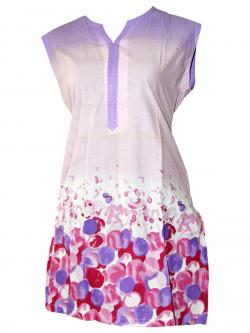Red & Purple Bubbles Printed Sleeveless Kurti - (SARA-013)