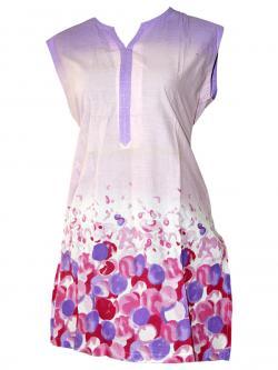 Red & Purple Bubbles Printed Sleeveless Kurti - (SARA-013)