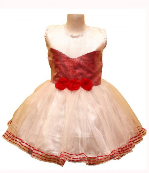 Red Sequence Covered Frock With Tissue Top - (JU-065)