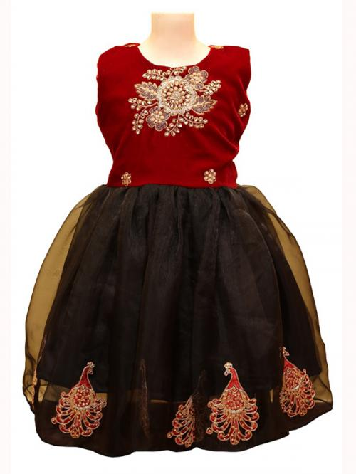 Black Frock With Red Velvet Top - (JU-066)
