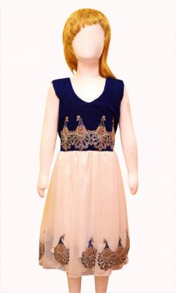 Royal Shiny White Net Flare With Blue Top - (JU-067)