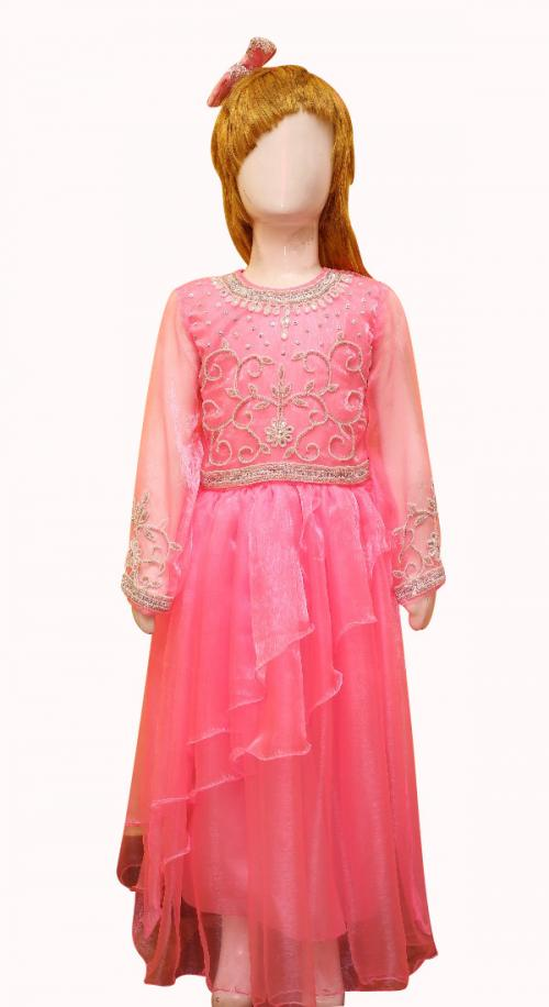 Pink Shiny Full Frock With Silver Bead Worked Top - (JU-069)