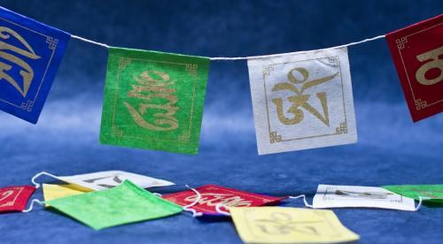 Om Mane Padme Hum hand printed Lokta Paper Player Flag.