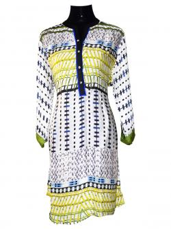 White Printed Long Kurti With Full Sleeves - (SARA-014)