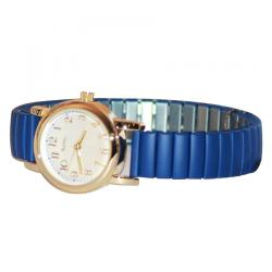 Gold Plated Dial Blue Strap Watch