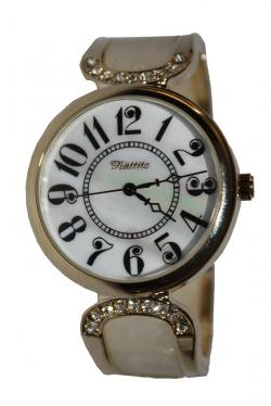Stone Studded White Bangle Design Ladies Watch