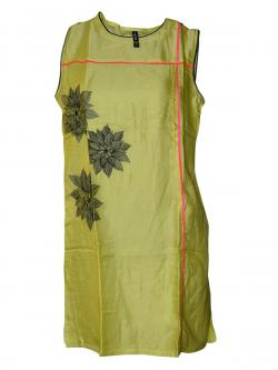 Yellowish Green Printed Kurti - (SARA-0118)