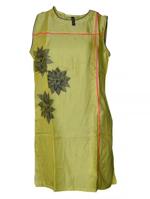 Yellowish Green Printed Kurti - (SARA-0118)