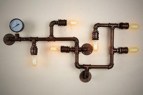 Fixture Wall Lamp - Restaurant Garage Decor - Water Pipe Lamp Vintage Ceiling Lights - (OR-007)