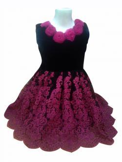 Black Velvet Top With Flowers & Matching Net Flare - (JK-086)