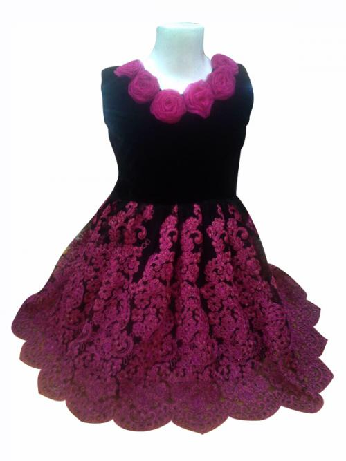 Black Velvet Top With Flowers & Matching Net Flare - (JK-086)