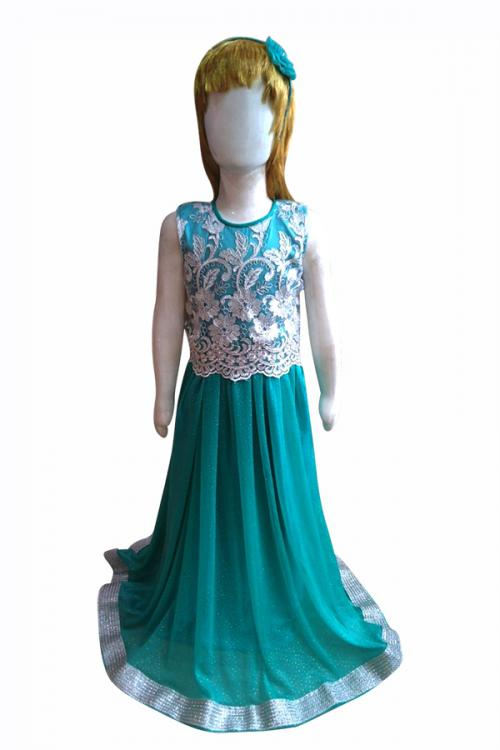 Elegant Party Dress With Silver Thread Worked Top - (JK-092)