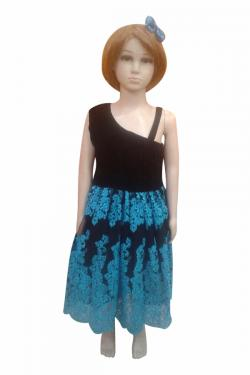 Black Velvet Top With Blue Black Flare - (JK-087)