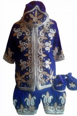 Pasni Set With Hand Embroidery On Royal Blue Velvet - (JK-073)