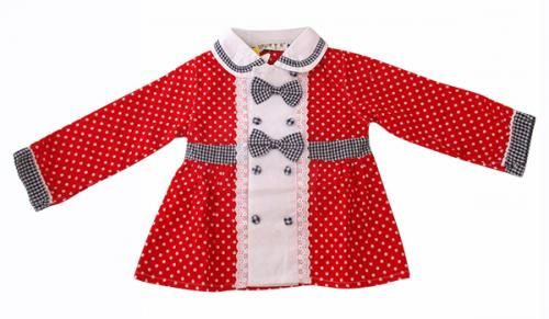 Girl's Dotted Frock With Full Sleeves - (KC-023)
