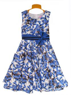 Fancy Floral Cotton Frock - (KC-029)