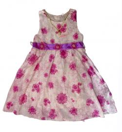 White Pink Mixed Floral Frock - (KC-032)