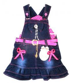 Blue & Pink Jeans Skirt - (KC-043)