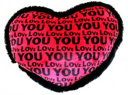 Love You Printed Heart Shaped Pillow - Hangable - (KC-107)