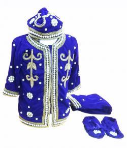 Pasni Set In Royal Blue Velvet - (JK-080)