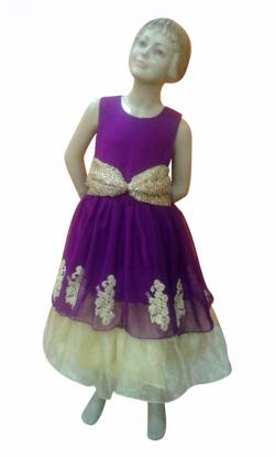 Double Layered Purple Flare With Laces & Belt Of Spider Net - (JK-082)