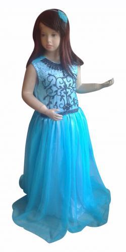 Sky Blue Dress With Black Embroidery - (JK-083)