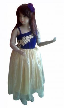 Royal Blue Velvet Top With Lace & Golden Tissue Flare - (JK-085)