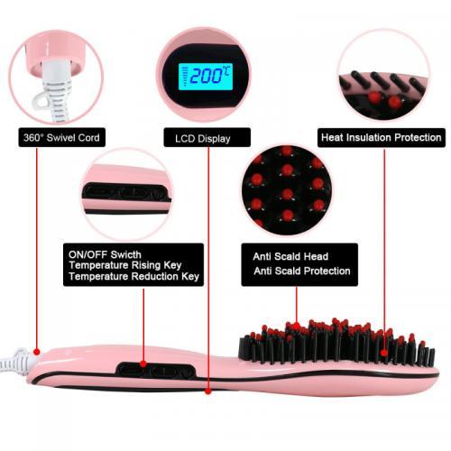 Electric Hair Straightener Brush Hair Straightener Comb - (TS-013)