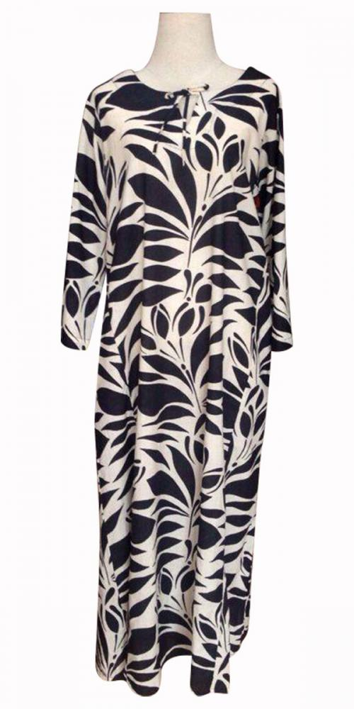 Black & White Leaves Printed Long Dress For Ladies - (SAS-013)
