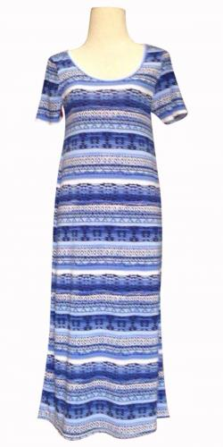 Blue & White Printed Long Dress For Ladies - (SAS-014)