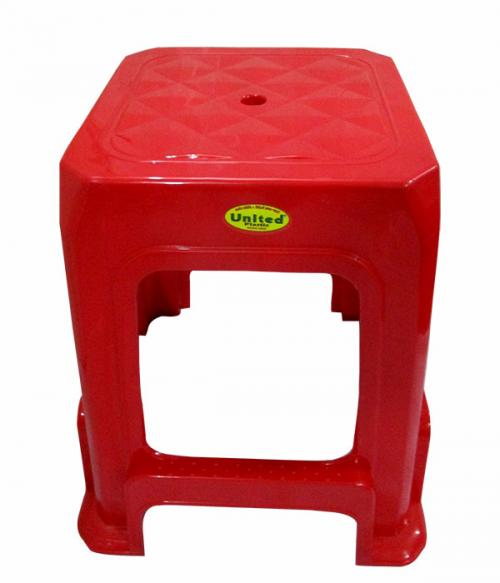 Red Plastic Household High Square Stool - (UT-005)